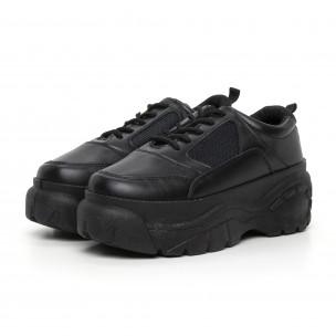 Γυναικεία μαύρα αθλητικά παπούτσια με πλατφόρμα  2