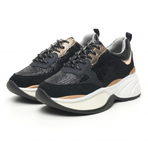 Γυναικεία μαύρα αθλητικά παπούτσια με χοντρή σόλα Shagreen design 2