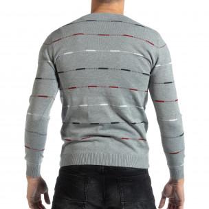 Ανδρικό γκρι πουλόβερ με πολύχρωμο ριγέ  2