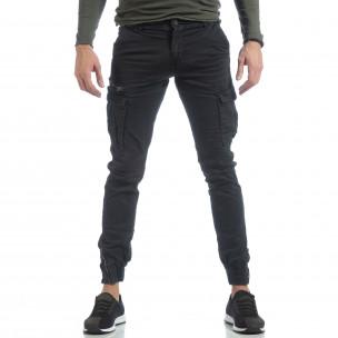 Ανδρικό μαύρο παντελόνι cargo με φερμουάρ  2