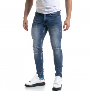Slim fit ανδρικό μπλε τζιν με ςταγόνες χρωμά