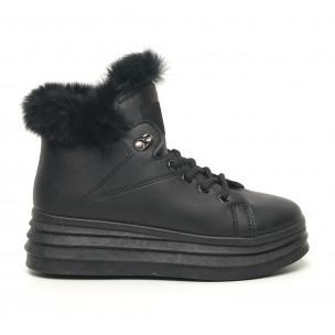 Γυναικεία μαύρα μποτάκια τύπου sneakers με γούνα