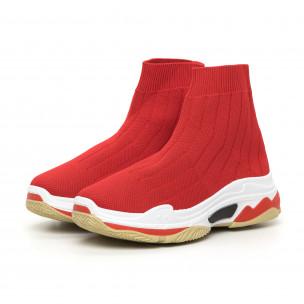 Γυναικεία κόκκινα πλεκτά αθλητικά παπούτσια Slip-on 2