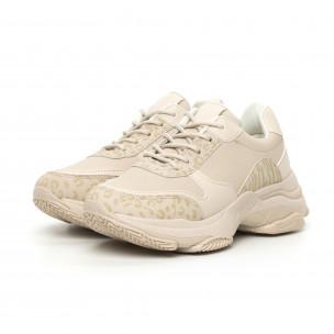 Γυναικεία μπεζ αθλητικά παπούτσια με χοντρή σόλα 2