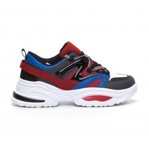 Chunky ανδρικά μπλε-κόκκινα αθλητικά παπούτσια