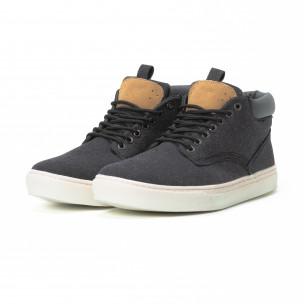 Ανδρικά μαύρα υφασμάτινα sneakers με δερμάτινη λεπτομέρεια  2