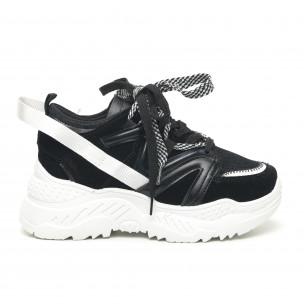 Γυναικεία μαύρα αθλητικά παπούτσια Chunky design