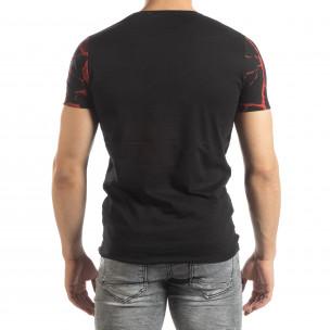 Ανδρική μαύρη-κόκκινη κοντομάνικη μπλούζα Supple  2