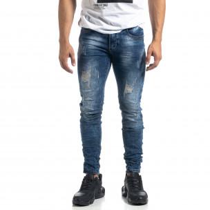 Ανδρικό γαλάζιο τζιν Vintage style Slim fit  2