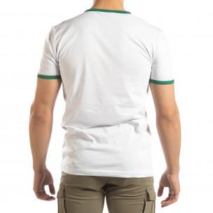 Ανδρική λευκή κοντομάνικη μπλούζα με πολύχρωμες ρίγες 2