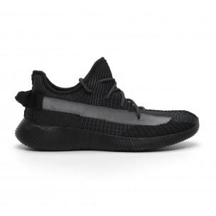 Ανδρικά διχτυωτά γκρι-μαύρα αθλητικά παπούτσια ελαφρύ μοντέλο