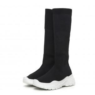 Γυναικείες μαύρες μπότες τύπου κάλτσα με λευκή σόλα 2