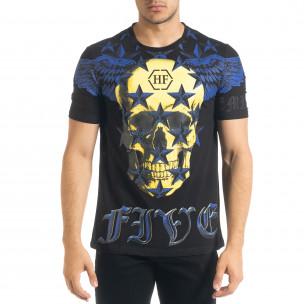 Ανδρική μαύρη κοντομάνικη μπλούζα Flex Style