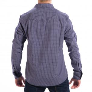 Ανδρικό γαλάζιο καρέ πουκάμισο Slim fit CROPP  2
