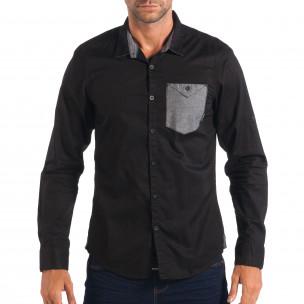 Ανδρικό μαύρο πουκάμισο CROPP