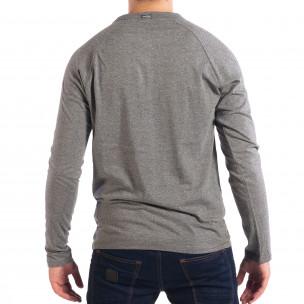 Ανδρική γκρι μπλούζα με κουμπιά RESERVED  2