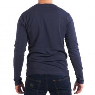 Ανδρική μπλε μπλούζα με τσέπη  2