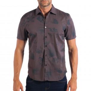 Ανδρικό γκρι κοντομάνικο Slim fit πουκάμισο με πριντ RESERVED