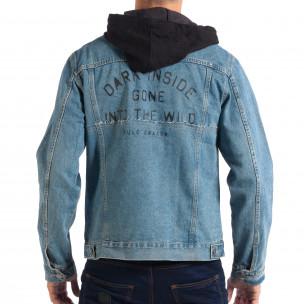 Ανδρικό γαλάζιο τζιν μπουφάν με κουκούλα RESERVED  2