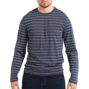 Ανδρική μπλε ριγέ μπλούζα RESERVED