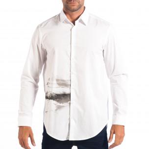 Ανδρικό λευκό πουκάμισο Regular fit με πριντ