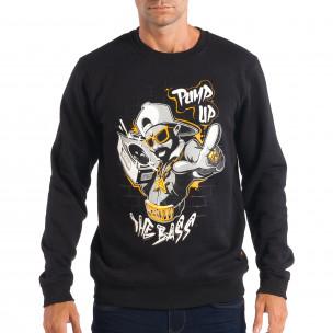 Ανδρική μαύρη μπλούζα με Hip-Hop μοτίβο CROPP