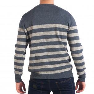 Ανδρικό μπλε ριγέ πουλόβερ 2