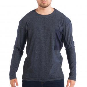 Ανδρική μπλε μελάνζ μπλούζα με τσέπη RESERVED