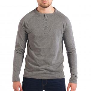 Ανδρική γκρι μπλούζα με κουμπιά RESERVED