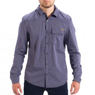 Ανδρικό γαλάζιο καρέ πουκάμισο Slim fit CROPP