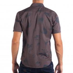Ανδρικό γκρι κοντομάνικο Slim fit πουκάμισο με πριντ RESERVED  2
