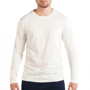 Ανδρική λευκή μπλούζα με τσέπη RESERVED