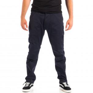 Ανδρικό μπλε παντελόνι με λάστιχο στις άκρες CROPP