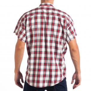 Ανδρικό Regular κοντομάνικο πουκάμισο RESERVED κόκκινο καρέ  2