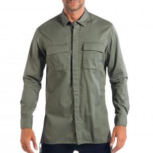 Ανδρικό πράσινο Military πουκάμισο μοντέλο Large RESERVED