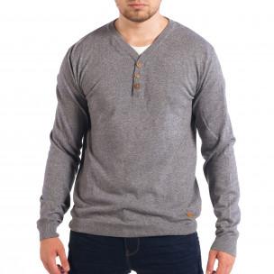 Ανδρικό γκρι πουλόβερ με κουμπιά RESERVED