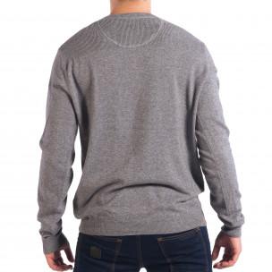 Ανδρικό γκρι πουλόβερ με κουμπιά RESERVED  2