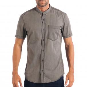 Ανδρικό γκρι κοντομάνικο πουκάμισο RESERVED Regular fit