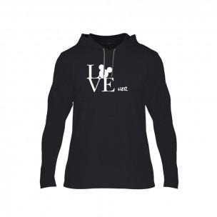 Κοντομάνικη μπλούζα Love Him Love Her μαύρο, Μέγεθος M