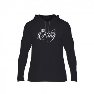 Κοντομάνικη μπλούζα King & Queen μαύρο, Μέγεθος S