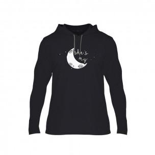 Κοντομάνικη μπλούζα The Moon Couple μαύρο, Μέγεθος S