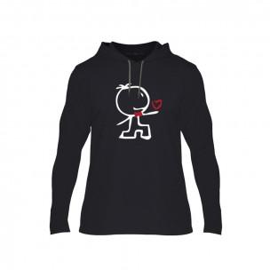 Κοντομάνικη μπλούζα Love Gift μαύρο, Μέγεθος XL