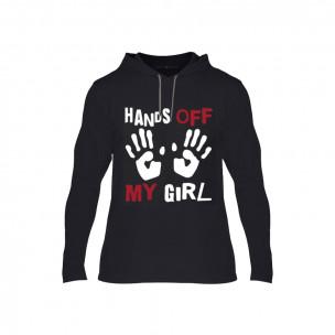 Κοντομάνικη μπλούζα Hands Off μαύρο, Μέγεθος l