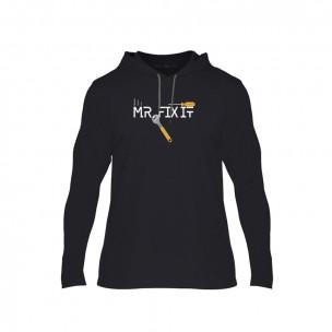 Κοντομάνικη μπλούζα Mrs. Broke It & Mr. Fix It μαύρο, Μέγεθος XL