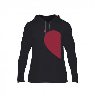 Κοντομάνικη μπλούζα Half Heart μαύρο, Μέγεθος S