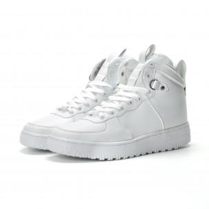 Ανδρικά λευκά ψηλά sneakers με τρακτερωτή σόλα  2