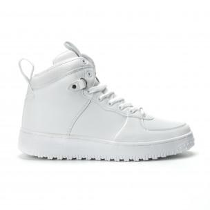 Ανδρικά λευκά ψηλά sneakers με τρακτερωτή σόλα