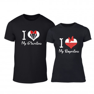 Μπλουζες για ζευγάρια Mickey Minnie μαύρο