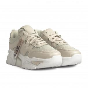 Γυναικεία μπεζ sneakers Chunky  2