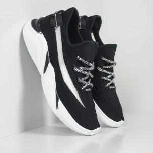 Ανδρικά υφασμάτινα μαύρα αθλητικά παπούτσια με δίχτυ